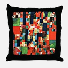Klee - City Picture with Red and Gree Throw Pillow