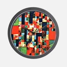 Klee - City Picture with Red and Green  Wall Clock