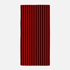 Red and Black Stripes Beach Towel