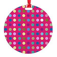 Polka Dots on Hot Pink Ornament