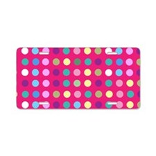 Polka Dots on Hot Pink Aluminum License Plate