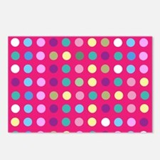 Polka Dots on Hot Pink Postcards (Package of 8)