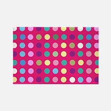 Polka Dots on Hot Pink Magnets