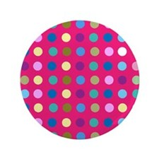 "Polka Dots on Hot Pink 3.5"" Button"