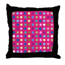 Polka Dots on Hot Pink Throw Pillow