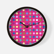 Polka Dots on Hot Pink Wall Clock