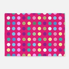 Polka Dots on Hot Pink 5'x7'Area Rug