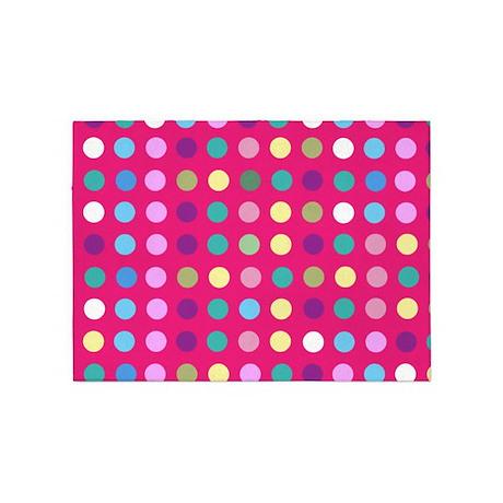 Amazing Polka Dots On Hot Pink 5u0027x7u0027Area Rug