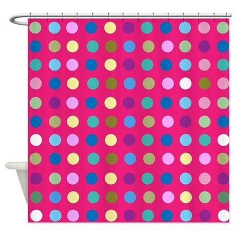 Polka Dots On Hot Pink Shower Curtain By Creativejoy