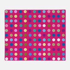 Polka Dots on Hot Pink Throw Blanket