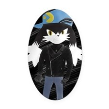 Klonoa with leather Jacket Oval Car Magnet