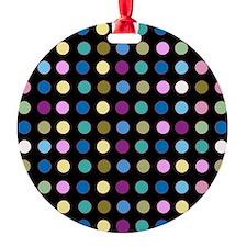 Polka Dots on Black Ornament