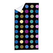 Polka Dots on Black Beach Towel