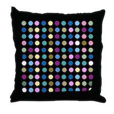 Polka Dots on Black Throw Pillow