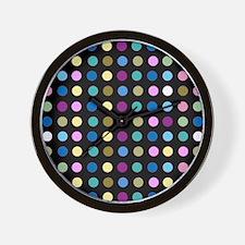 Polka Dots on Black Wall Clock