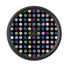 Polka Dots on Black Large Wall Clock