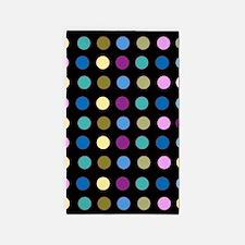 Polka Dots on Black 3'x5' Area Rug