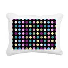 Polka Dots on Black Rectangular Canvas Pillow