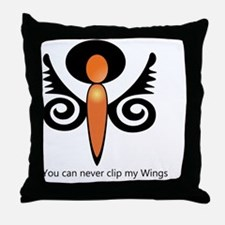 You can never Clip My Wings Throw Pillow