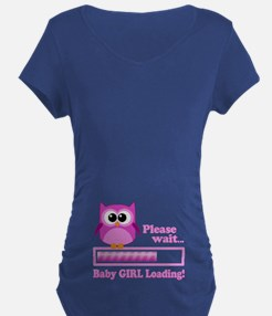Cute Owl - Baby Girl Loading Maternity T-Shirt
