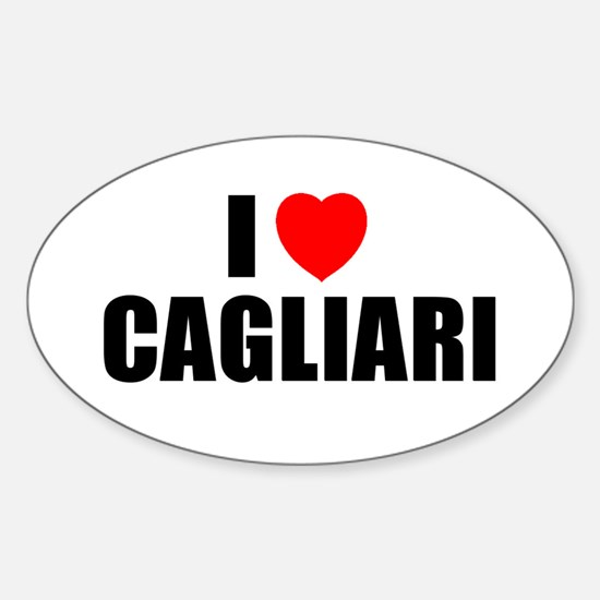 I Love Cagliari, Italy Oval Decal