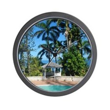 Oceanview from a pool in Jamaica Wall Clock