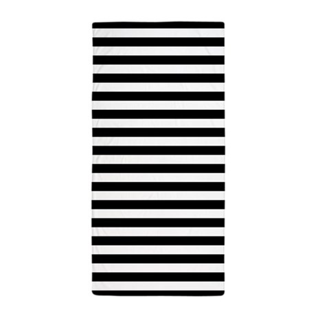Black and White Striped Beach Towel