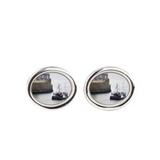Fishing boat and stone piers Cufflinks