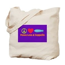 Peace Love & Zeppelin Tote Bag