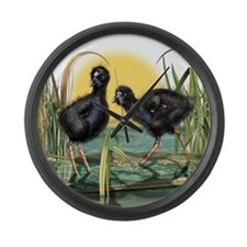 Puekeko Chicks Large Wall Clock