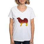 Mastiff Flames Women's V-Neck T-Shirt