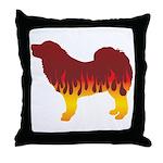 Mastiff Flames Throw Pillow