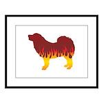 Mastiff Flames Large Framed Print