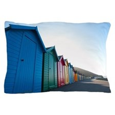 Long perspective shot of colourful bea Pillow Case