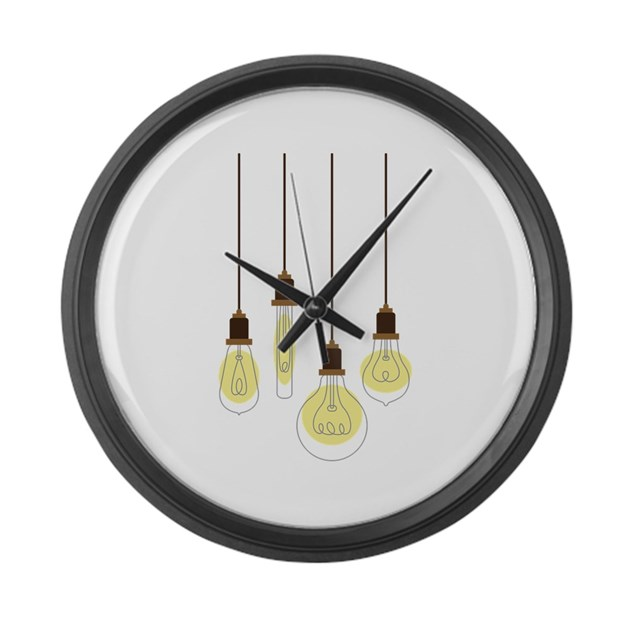 Vintage Light Bulbs Large Wall Clock By Hopscotch11