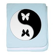 Yin Yang Butterfly Symbol baby blanket