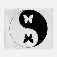 Yin Yang Butterfly Symbol Throw Blanket