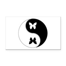 Yin Yang Butterfly Symbol Rectangle Car Magnet