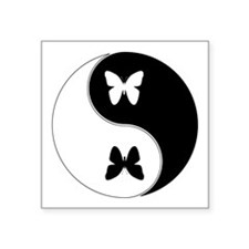 "Yin Yang Butterfly Symbol Square Sticker 3"" x 3"""