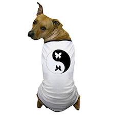 Yin Yang Butterfly Symbol Dog T-Shirt