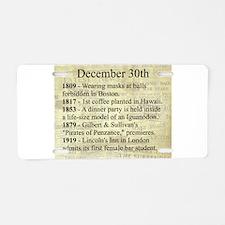 December 30th Aluminum License Plate