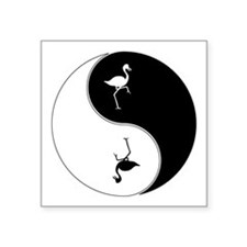 "Yin Yang Flamingo Symbol Square Sticker 3"" x 3"""