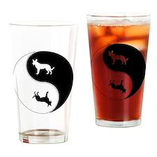 Yin Yang Dog Symbol Drinking Glass