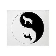 Yin Yang Dog Symbol Throw Blanket