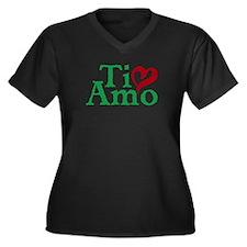 Ti Amo Women's Plus Size V-Neck Dark T-Shirt