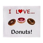 I Love Donuts Throw Blanket