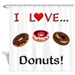 I Love Donuts Shower Curtain