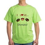 I Love Donuts Green T-Shirt