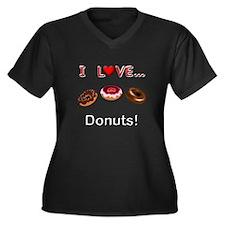 I Love Donut Women's Plus Size V-Neck Dark T-Shirt