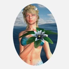Mermaid holding Water Lily Ornament (Oval)